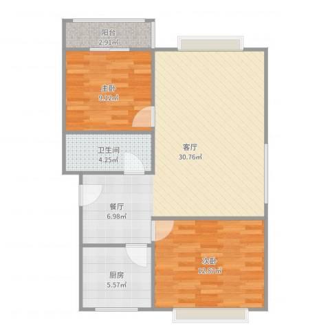 水天福苑2室1厅1卫1厨82.00㎡户型图