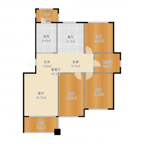 亿海玉树临居3室2厅1卫1厨144.00㎡户型图