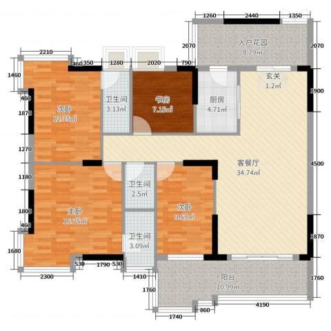 大唐盛世三期4室2厅3卫1厨143.00㎡户型图