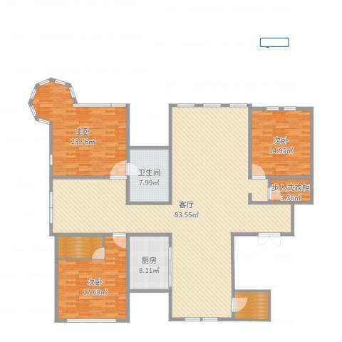溪岸艺墅3室1厅1卫1厨208.00㎡户型图