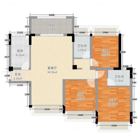 信德半岛3室2厅2卫1厨102.00㎡户型图