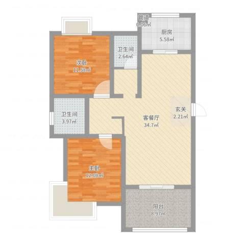 如意花园2室2厅2卫1厨79.59㎡户型图