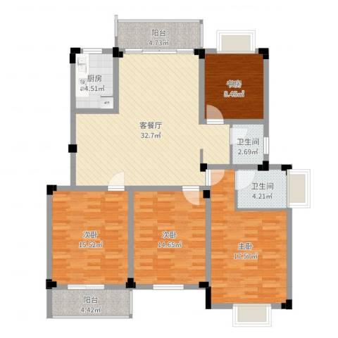 高尔夫家园4室2厅2卫1厨137.00㎡户型图