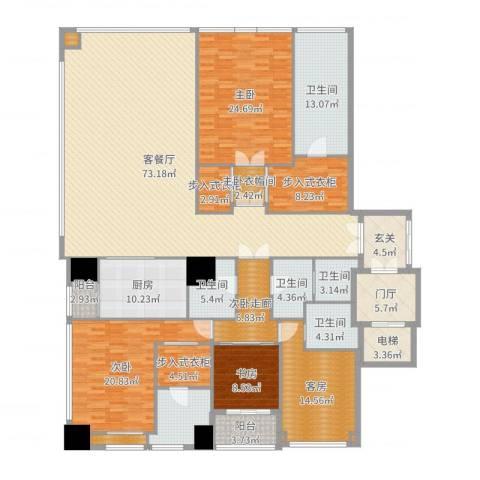 融创玖玺台2号楼E户型3室2厅5卫1厨294.00㎡户型图
