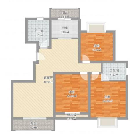 丽景江南3室2厅2卫1厨112.00㎡户型图