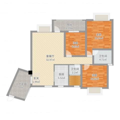 武陵富华大厦3室2厅2卫1厨120.00㎡户型图
