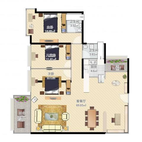维港湾3室2厅2卫1厨158.00㎡户型图