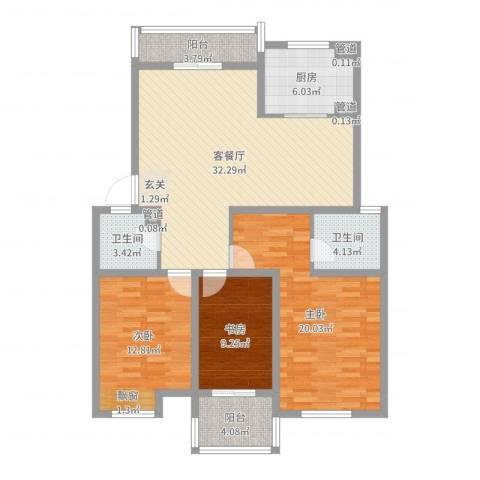 冠达豪景东苑3室2厅2卫1厨120.00㎡户型图