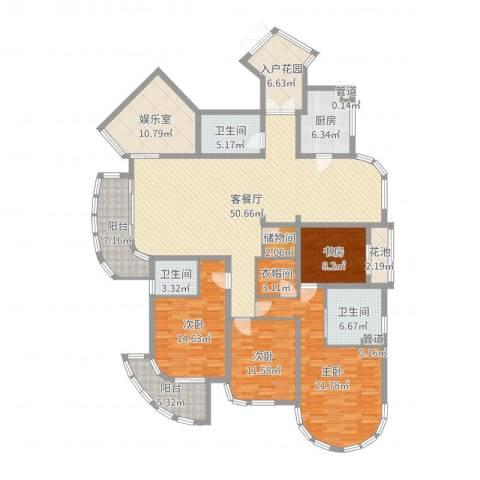 香湖郡4室2厅3卫1厨207.00㎡户型图