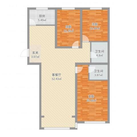 伊利亚特湾3室2厅2卫1厨138.00㎡户型图
