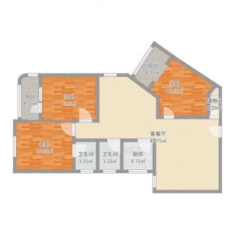 华脉新村3室2厅2卫1厨136.00㎡户型图