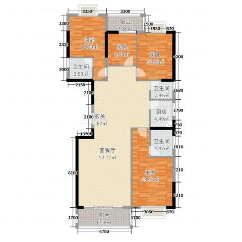 金丰花园4室2厅3卫1厨129.38㎡户型图