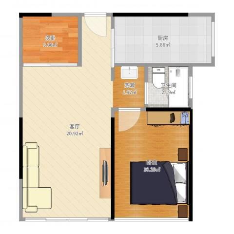 3号线城市公寓1室1厅1卫1厨53.00㎡户型图