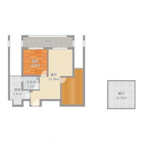 畔山公馆1室2厅1卫1厨98.00㎡户型图