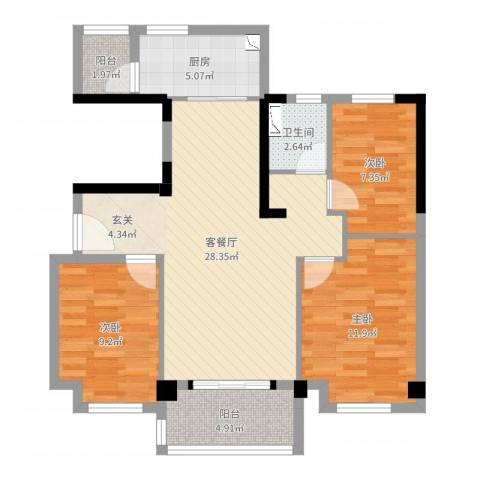 荆门碧桂园四期凤林苑3室2厅1卫1厨89.00㎡户型图