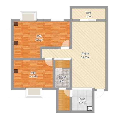 龙祥佳苑2室2厅1卫1厨99.00㎡户型图
