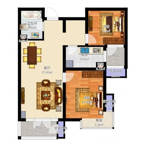 河东万达广场2室1厅1卫1厨83.00㎡户型图