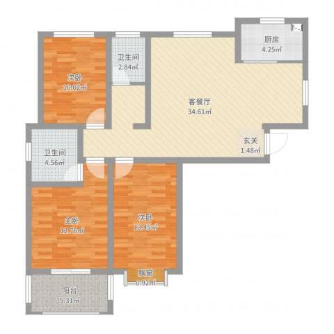 荣基春城3室2厅2卫1厨110.00㎡户型图