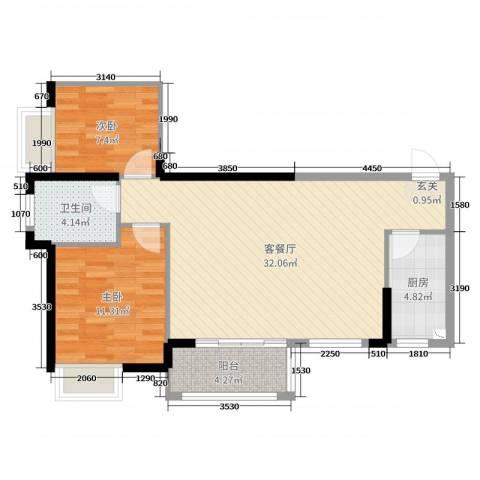中骏蓝湾香郡2室2厅1卫1厨80.00㎡户型图
