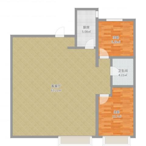 万科城2室2厅1卫1厨117.00㎡户型图