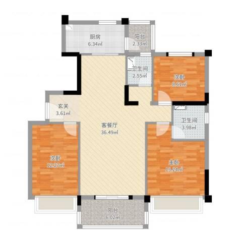 荆门碧桂园四期凤林苑3室2厅2卫1厨115.00㎡户型图