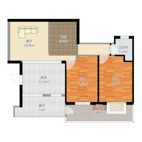 荔城花园2室2厅1卫1厨100.00㎡户型图