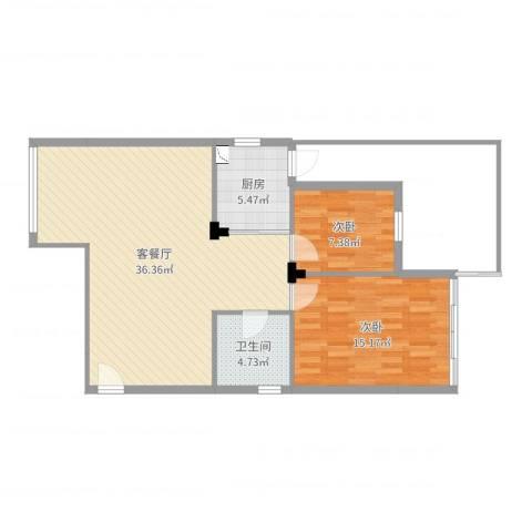云影花园2室2厅1卫1厨86.00㎡户型图