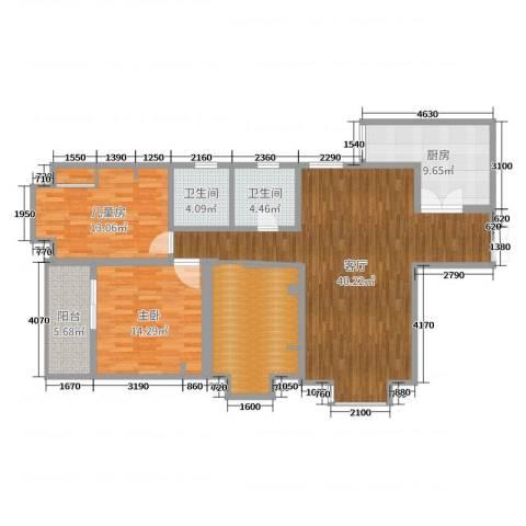 紫玉华园2室1厅2卫1厨131.00㎡户型图