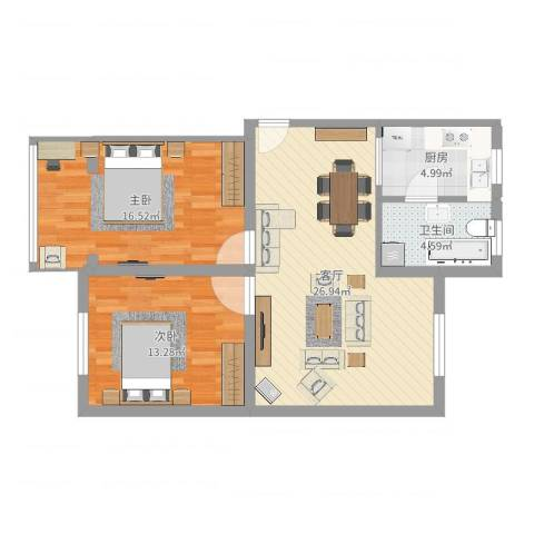 鸿基公寓2室1厅1卫1厨83.00㎡户型图