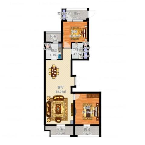 河东万达广场2室1厅1卫1厨106.00㎡户型图