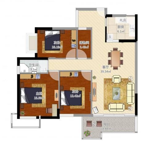 罗定福泰花园3室1厅1卫1厨114.00㎡户型图