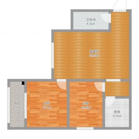 义合・三千湖2室2厅1卫1厨83.00㎡户型图