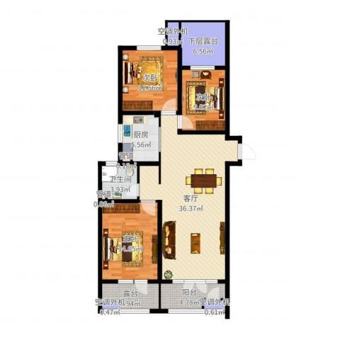河东万达广场3室1厅1卫1厨124.00㎡户型图