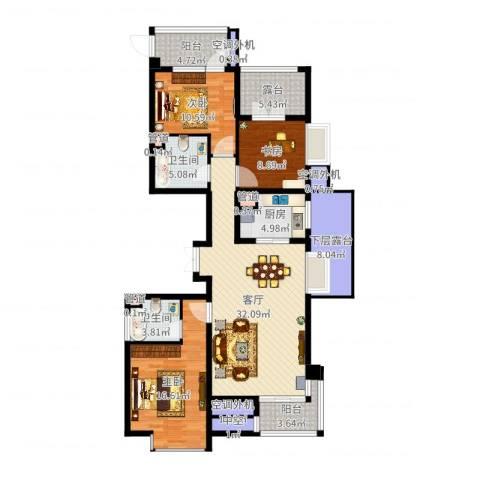 河东万达广场3室1厅2卫1厨134.00㎡户型图