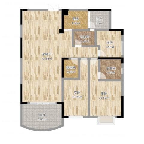 新世纪花园3室2厅2卫1厨130.00㎡户型图