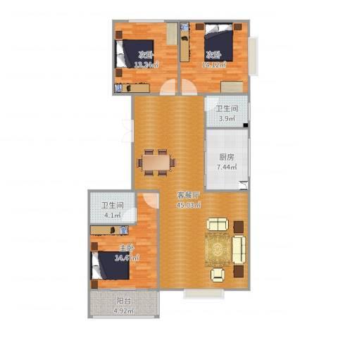 上都名苑3室2厅2卫1厨134.00㎡户型图