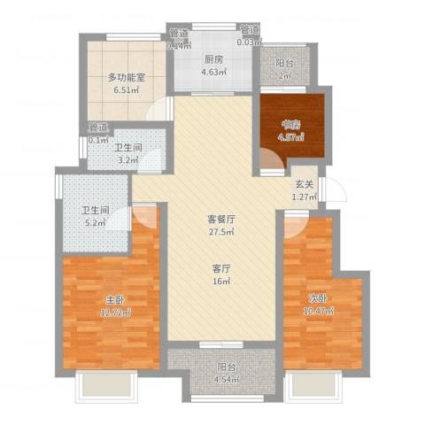 万科城3室2厅2卫1厨102.00㎡户型图