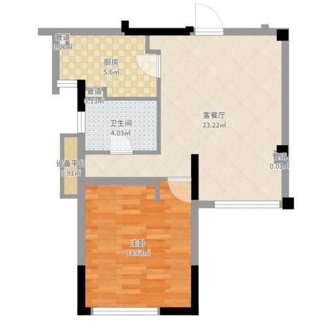 华辰国际1室2厅1卫1厨61.00㎡户型图