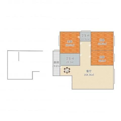 佳地花园3室1厅2卫1厨456.00㎡户型图