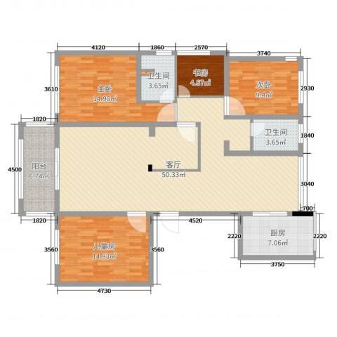春江花城4室1厅2卫1厨145.00㎡户型图