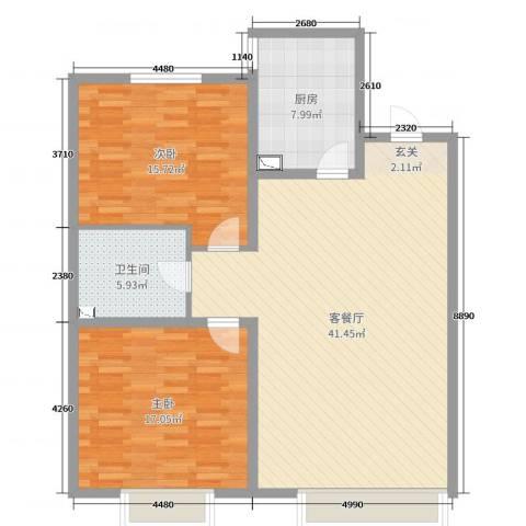 城市玫瑰园2室2厅1卫1厨93.00㎡户型图