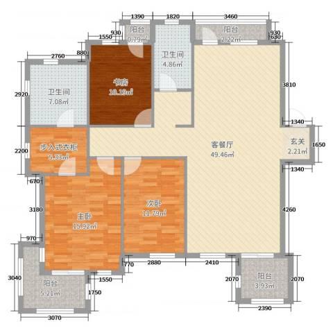 钻石湾地中海阳光3室2厅2卫0厨140.00㎡户型图