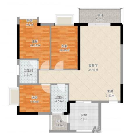海志公园道一号3室2厅2卫1厨107.00㎡户型图