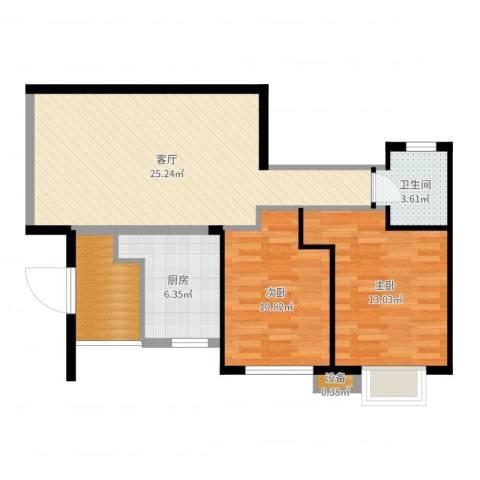 荔城花园2室1厅1卫1厨80.00㎡户型图
