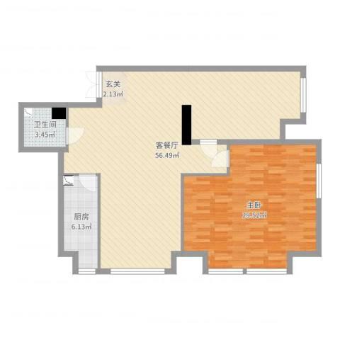 K2・京南狮子城1室2厅1卫1厨119.00㎡户型图