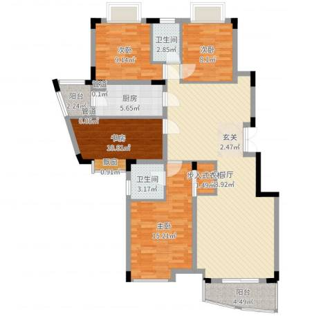 龙湖西苑4室2厅2卫1厨128.00㎡户型图