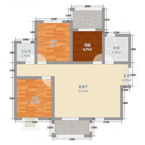 万国城3室2厅1卫1厨106.00㎡户型图