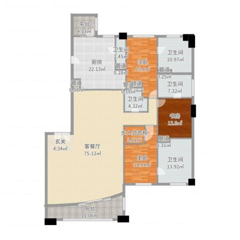 富国高银3室2厅5卫1厨248.00㎡户型图