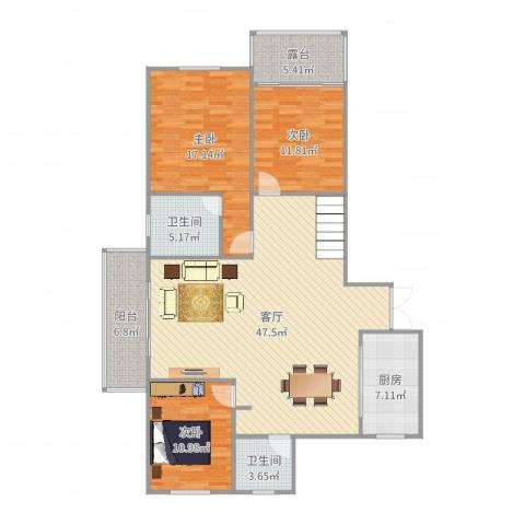 燕山美林二层3室1厅2卫1厨144.00㎡户型图