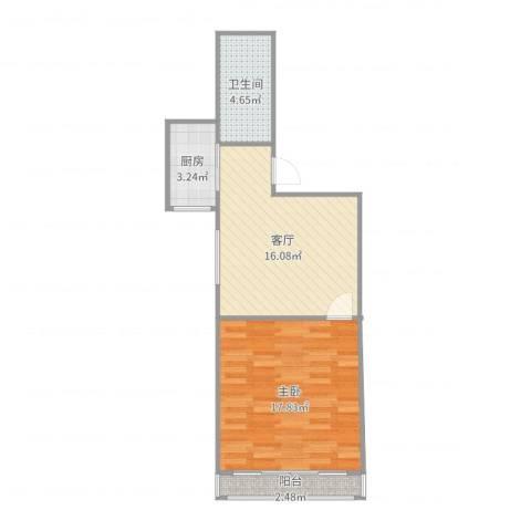 嘉城新航域48㎡一房1室1厅1卫1厨55.00㎡户型图